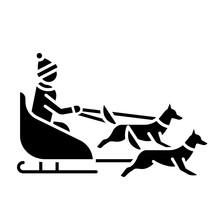 Dog Sledding Glyph Icon. Winter Extreme Sport, Risky Activity And Adventure. Sleigh Riding. Cold Season Leisure. Person Dogsledding. Silhouette Symbol. Negative Space. Vector Isolated Illustration