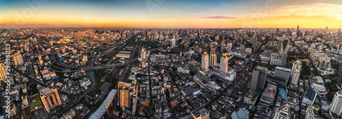 Montage in der Fensternische Cappuccino Wide Panoramic View of Bangkok, Thailand. Cityscape with Skyscrapers at Sunset