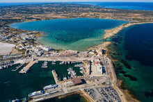 Beautiful Turquoise Bay At Formentera, Aerial View.