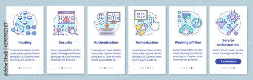 Photo Mobile software development onboarding mobile app page screen with linear concepts