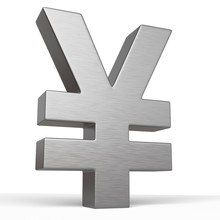 Metal Yen Sign Isolated On White Background. Chrome Symbol. 3d Rendering Illustration