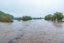 UK Flooding Warning. River Wye In The Village Glasbury-on-Wye.
