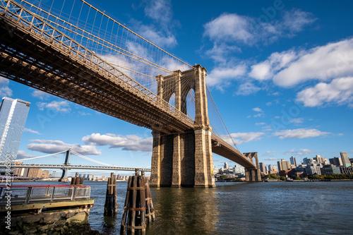Door stickers New York Brooklyn Bridge in daylight view from Lower East Side waterfront