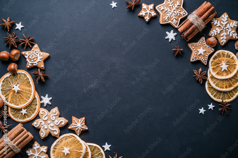 Fototapety, obrazy: Christmas and New Year composition. Festive decorations and homemade gingerbread with copy space for text design. Holiday and celebration concept, greeting card or invitation mockup