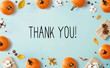 canvas print picture - Thank you message with autumn pumpkins with gift boxes