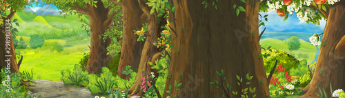 Foto auf Gartenposter Lime grun cartoon summer scene with meadow in the forest illustration for children