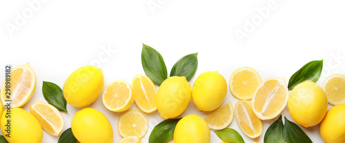 Ripe lemons on white background - 298989182