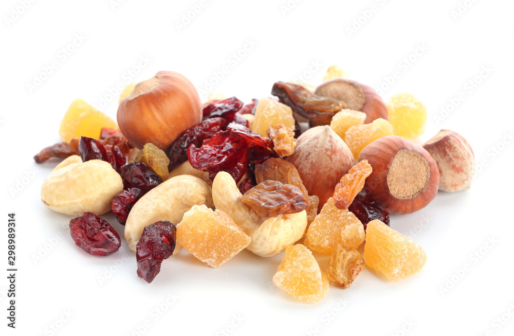 Fototapeta Different dried fruits and nuts on white background