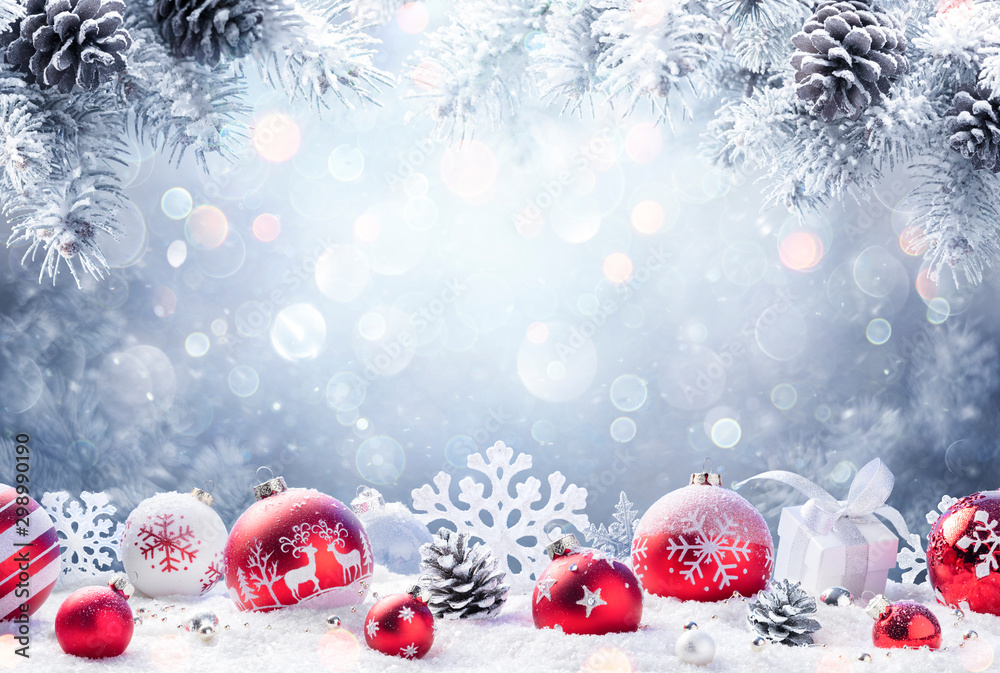 Fototapety, obrazy: Christmas - Red Ornament On Snow With Fir Branches