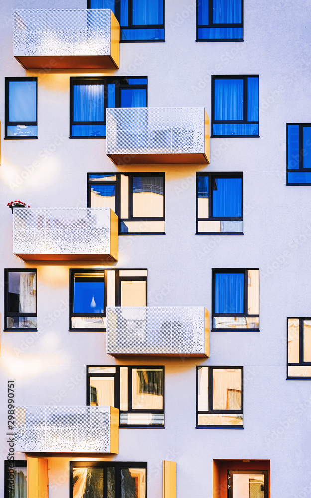 Fototapety, obrazy: Facade with Windows of Modern residential apartment and flat building