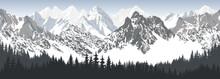 Vector Seamless Mountains With Woodland Karakoram Himalayan Panorama Background