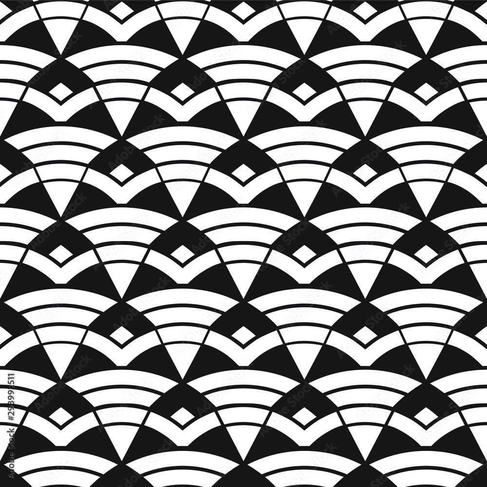 Geometric seamless  pattern, seamless triangles and  arcs, geo background in black and white, vector illustration.