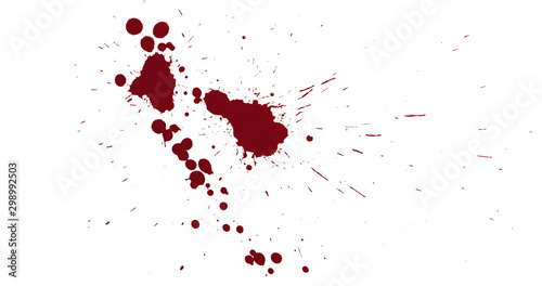 Valokuvatapetti Top view blood splatter dripping isolated on white background