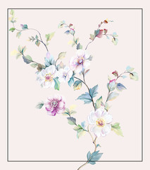 Fototapeta Do Spa Colorful flowers, the leaves and flowers art design