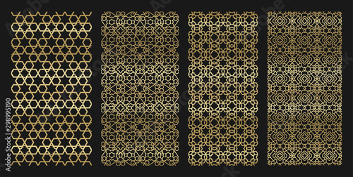 Obraz na plátně Golden jewish seamless with hexagon and ornament pattern pack