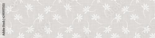 Montage in der Fensternische Künstlich Gray French Linen Texture Border Background printed with White Daisy Flower. Natural Ecru Flax Fibre Seamless Pattern. Organic Yarn Close Up Weave Fabric Banner Trim. Cloth Packaging. Vector EPS10