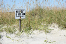 Sign Keep Out In  Dunes At The...