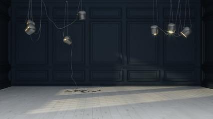 Modern design. Empty dark room with pendant lights. Decorative background, copy space.