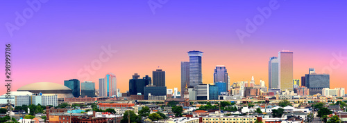 Платно Colorful Panorama of New Orleans Skyline