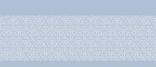 Flower Lace Stripe Texture Seamless Border Pattern. Elegant Blue Horizontal Geo Background. Retro 1960s Style Edging For Trendy Packaging, Textile, Wallpaper. Geometric Banner Ribbon. Vector Eps 10