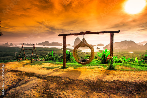 Autocollant pour porte Orange eclat Panoramic nature background (mountains, sea, trees, twilight lights in the sky, waterfront communities), naturally blurred through the wind, seen on tourist spots or scenic spots