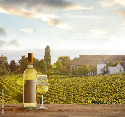 Foto auf Leinwand Alkohol Glass and bottle of wine on wooden rail with country rural scene in background. Green leaves and calm summer sunshine day. Copyspace. Alcohol drinks on backyard of big house.