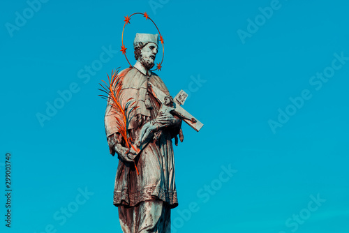Canvas Print John of Nepomuk Statue on Charles bridge. Prague, Czech Republic