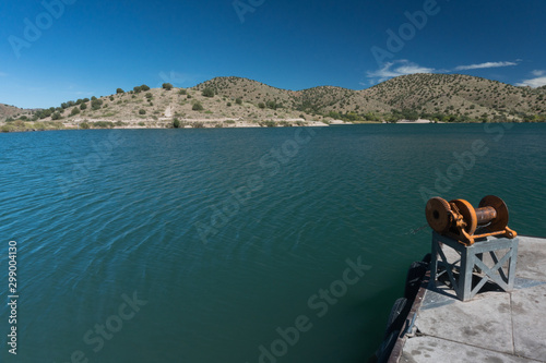 Bill Evans Lake dock winch in New Mexico Canvas Print