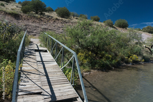 Photo  Rustic dock view at Bill Evans lake, New Mexico.