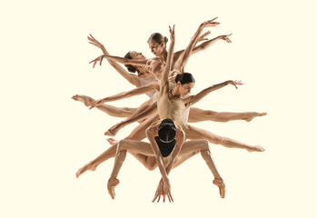 The group of modern ballet dancers like a tree. Contemporary art ballet. Youn...