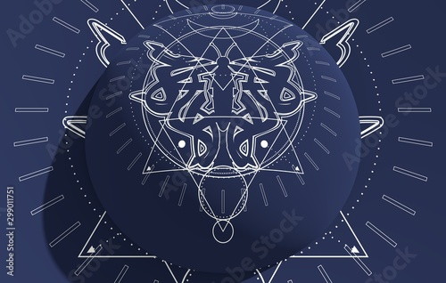 Fond de hotte en verre imprimé Style Boho Mystical geometry symbol. Linear alchemy, occult, philosophical sign. For music album cover, poster, sacramental design. Astrology and religion concept. 3d rendering