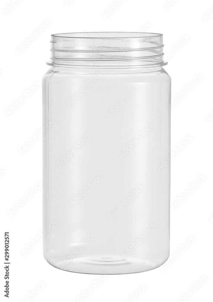 Fototapety, obrazy: Plastic jar food packaging (with clipping path) isolated on white background