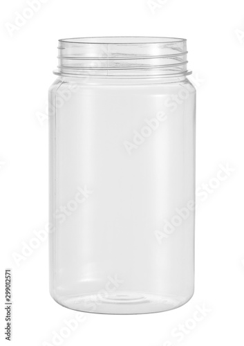 Stampa su Tela  Plastic jar food packaging (with clipping path) isolated on white background