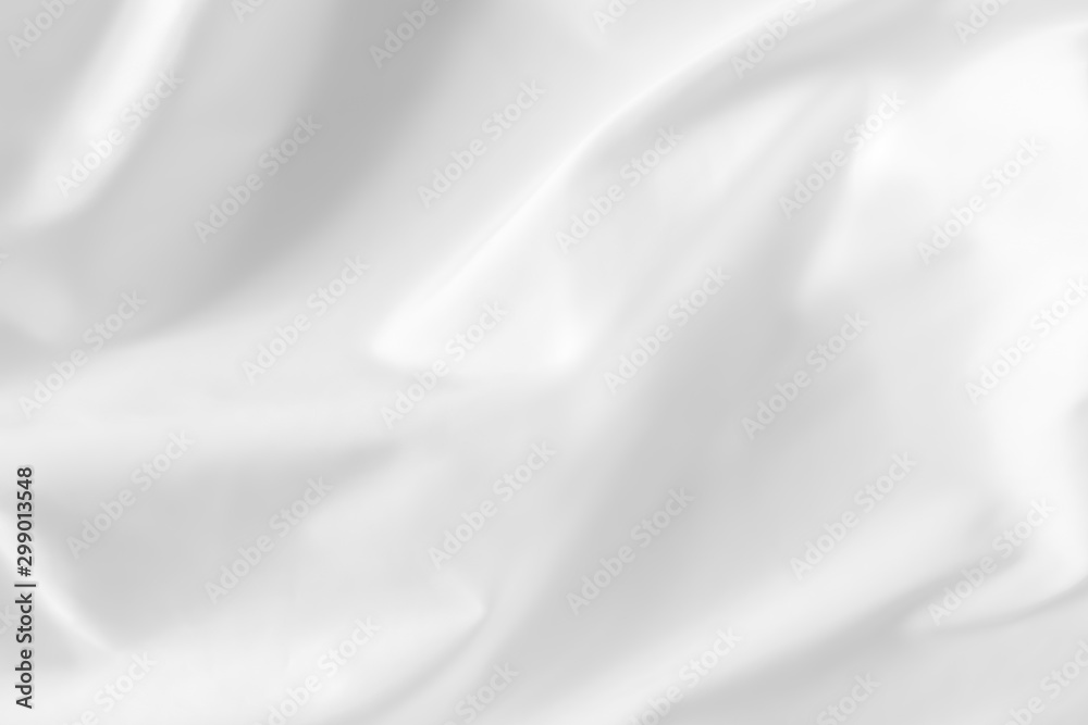 Fototapety, obrazy: Abstract white fabric texture background. Cloth soft wave. Creases of satin, silk, and cotton.