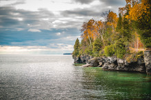 Fall Landscape In Door County, Wisconsin, On The Shores Of Lake Michigan.