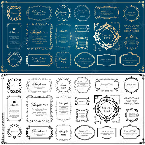 Fototapety, obrazy: 高級感のあるフレームデザイン、カリグラフィー素材、ラグジュアリー、テンプレート、【コピースペース】