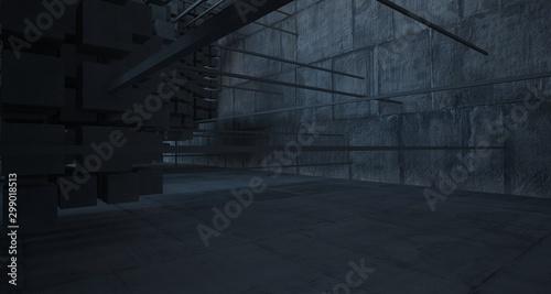 Streszczenie architektoniczne wnętrze betonowe z szeregu białych kostek z dużymi oknami. Ilustracja 3D i rendering.