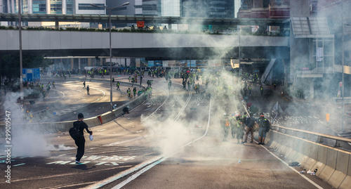 10.1 Chinese National Day Protest in Hong Kong Canvas Print