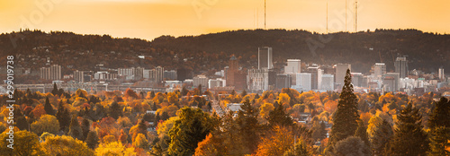 Vászonkép Portland downtown skyline with autumn trees view from Mt