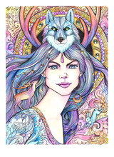 Watercolor Drawing Beautiful Woman With Wolf, Deer, Mandala, Patterns