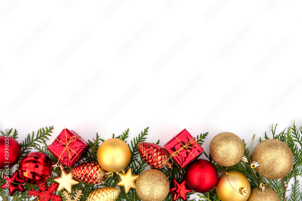 Fototapety, obrazy: Christmas composition on a white sheet with a Christmas tree balls and cones