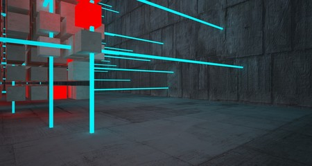 Abstract architectural concrete interior from an array of white cubes with color gradient neon lighting. 3D illustration and rendering.