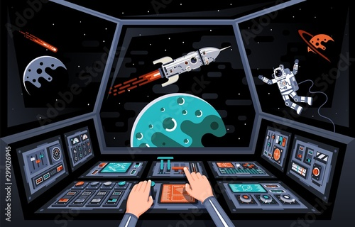 Control panels and view from the cockpit of the spaceship. Astronaut's hands on the dashboard of the spacecraft. Vector illustration.
