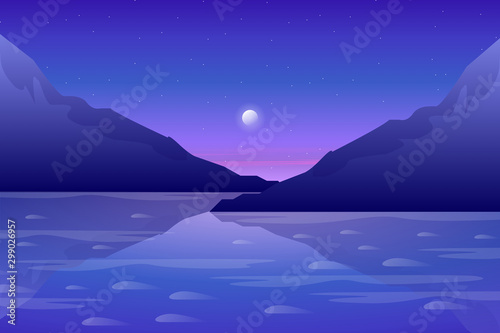 Fotobehang Donkerblauw Beautiful mountain and blue sky with sea view background