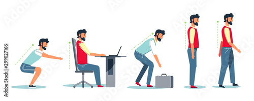 Fotomural Posture and healthy spine, correct sitting at desk, ergonomics advice