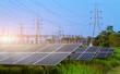 Leinwandbild Motiv power solar panel and High voltage post in Power plant on blue sky background,alternative clean green energy concept