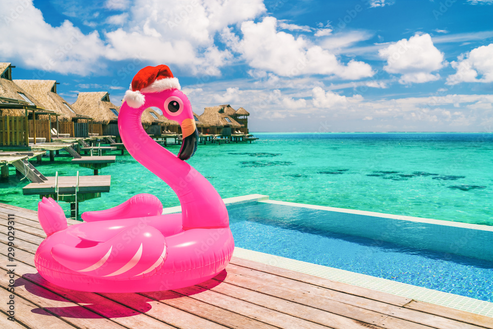 Fototapety, obrazy: Christmas beach summer vacation flamingo pool float with santa hat travel background for winter holidays.