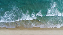 Beach On Aerial Drone Top View...