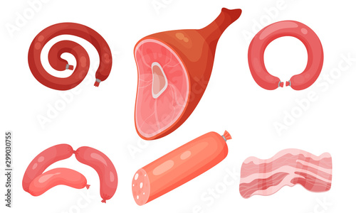 Fotomural  Sausage Product Vector Isolated On White Background Set