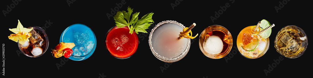 Fototapety, obrazy: Top down panorama of exotic alcoholic cocktails